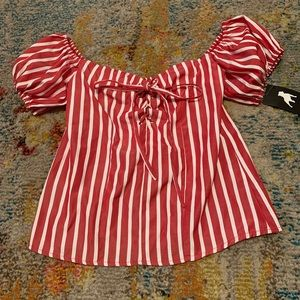 Tops - Red and white stripe off the shoulder top